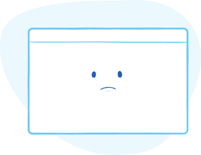 A browser with a sad face